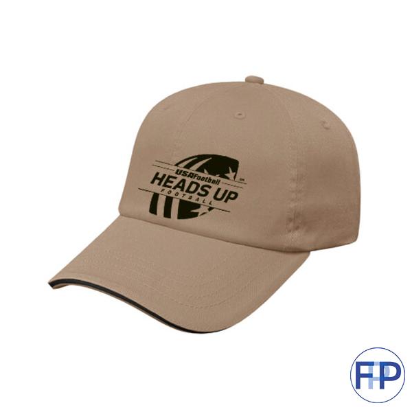 sandwich-brim-unstructured-brushed-Khaki-cotton-6-panel-hat